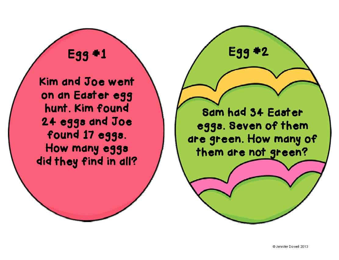 Math Word Problems Scavenger Hunt Eggs Love Teaching Kids
