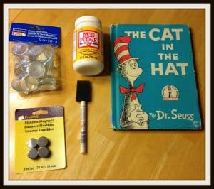 supplies for Dr. Seuss magnets