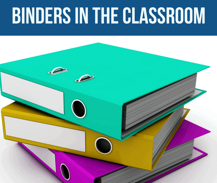 binders in the classroom
